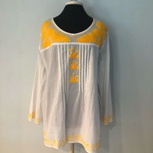 Classic White Indian Tunic Yellow Embroidery XL